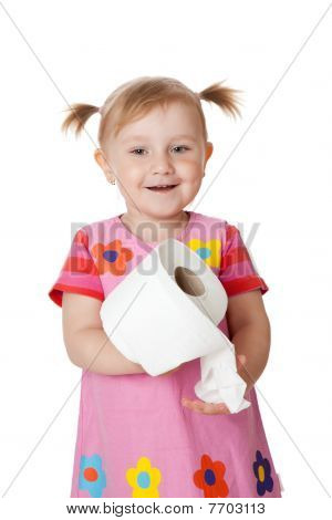 Little Girl With Toilet Paper
