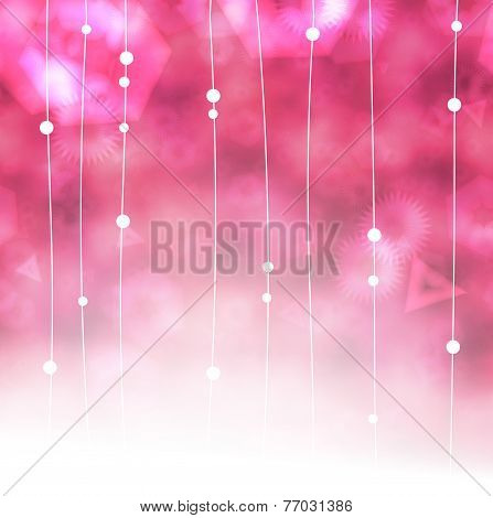 Beautiful Pink Dangle Garlands Background With Copy Space