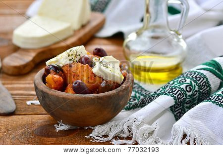 Potato Ragout On - Is Greek With Feta And Olives