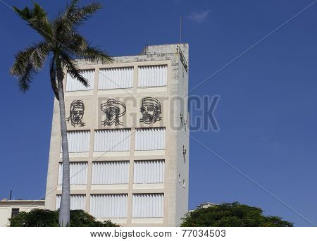 Havana, Cuba, August 9, 2012:  Illustrated Faces Of Jose Marti, Fidel Castro And Che Guevara In Plaz