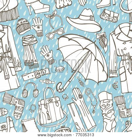 Females outerwear,accessories,rain seamless pattern.Outline Sket