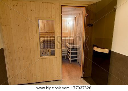Wooden Sauna With Glass Door