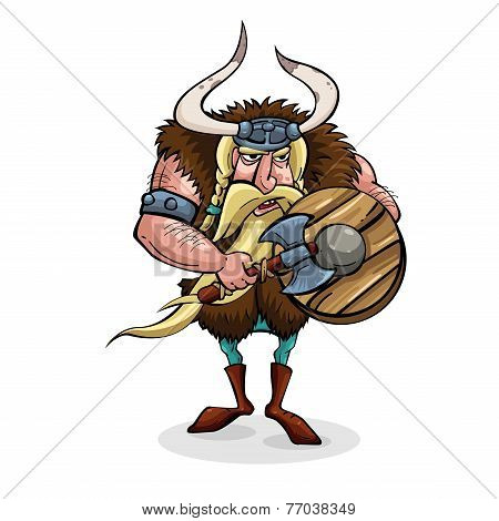 Angry cartoon viking. Medieval warrior with weapons. Character