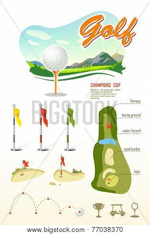 Beautiful landscape. Golf Club. Poster for sport.