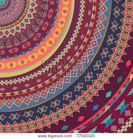 Background Of Bright Ornamental Pattern. Elements Of The Pattern Drawn By Hand.