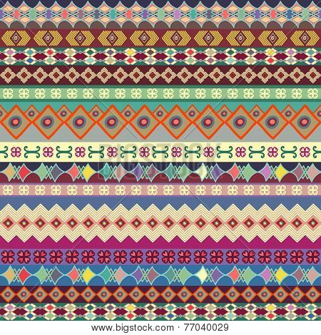 Background. Seamless Strip Ornament. Bright Pattern With Decorative Details Painted By Hand.
