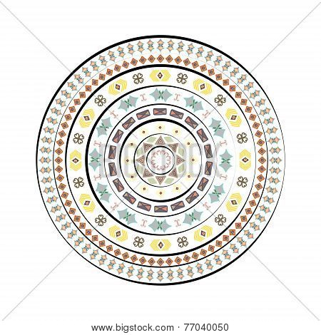 Abstract Circle With Decorative Elements, Hand-drawn. Isolated On White