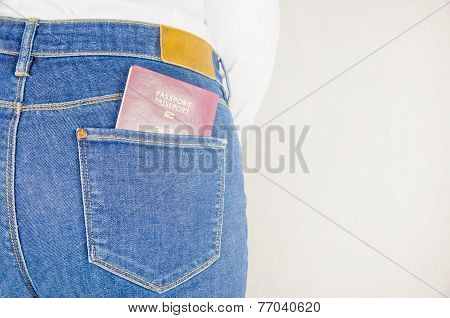 Passport In A Jeans Pocket