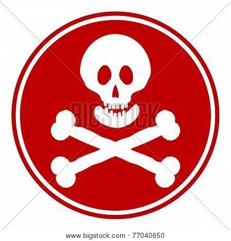Skull And Bones Danger Sign Button