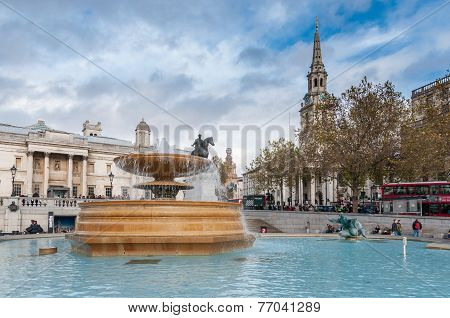 Fountain At Crowded Trafalgar Square