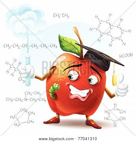 Illustration of school apple with a worm and with a test tube in hand with the chemical formulas