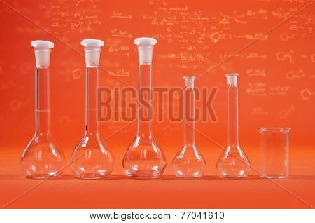 Chemistry Science - Flasks On Orange Background