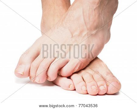 Male Feet One Over The Other