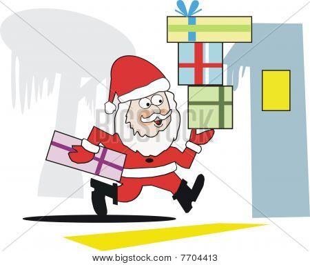 Running Santa cartoon