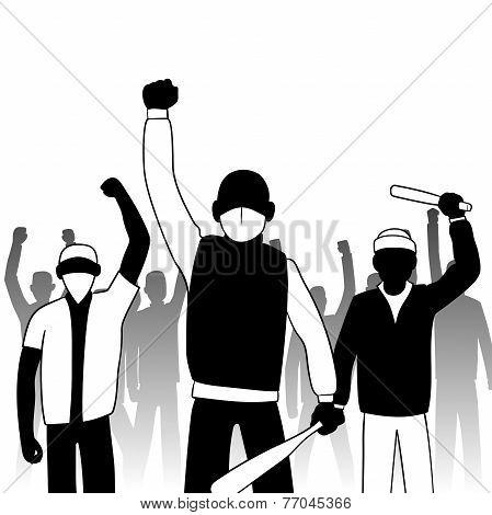 Combative protesters