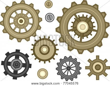 Illustration Featuring a Wide Assortment of Cogwheel Designs