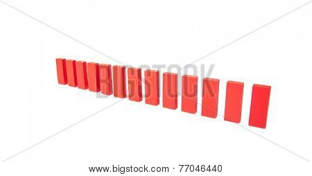 Red buidling blocks standing in line. All on white background,