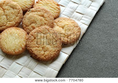 Cookies on grass mat