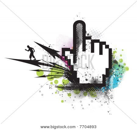 abstract grunge arrow hand mouse symbol