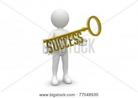 Man Holding Success Key