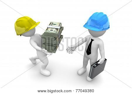 Worker Giving Money To Manager