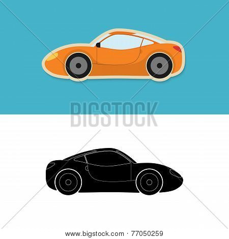 Sports car icon and silhouette