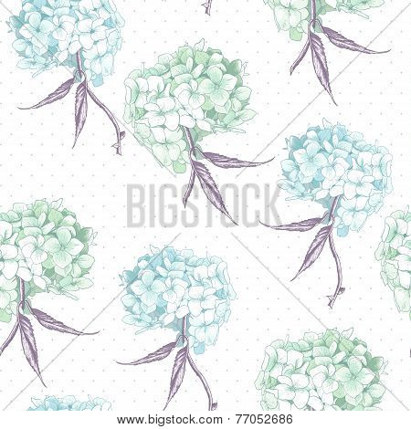Beautiful Blue Hydrangea Seamless Background