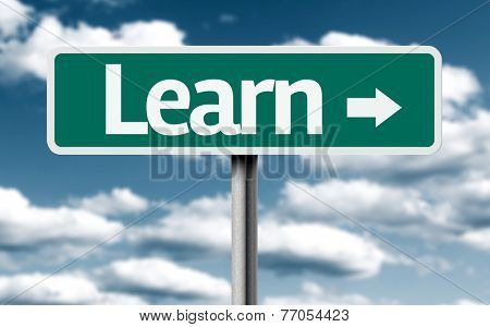 Learn creative green sign