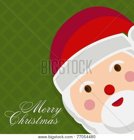 Kiddish greeting card with cute face of Santa Claus on stylish green background for Merry Christmas celebrations.
