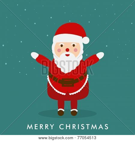 Happy Santa Claus extending his arms on sea green background for welcome of Merry Christmas.