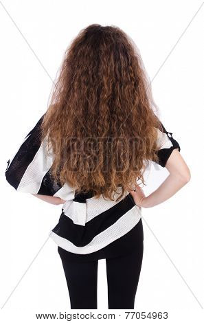 Woman with long hair haircut