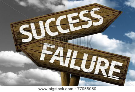 Success x Failure creative sign with clouds as the background