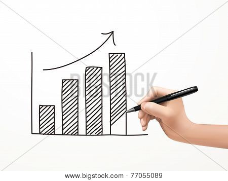 Growing Business Graph Drawn By Human Hand