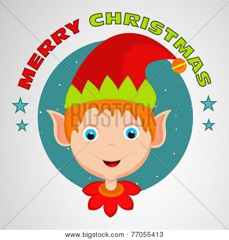 Cartoon of a cute boy face in Santa's cap with stylish text for Merry Christmas celebrations.