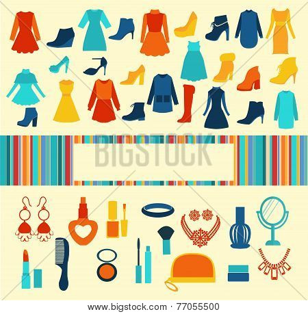 Women Accessories Shopping Vector Background