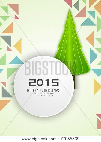 Happy New Year 2015 and Merry Christmas sticker, tag or label with X-mas tree on stylish background.