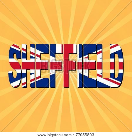 Sheffield flag text with sunburst illustration