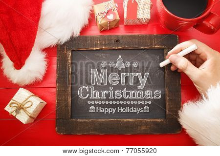 Merry Christmas Text With Black Chalkboard