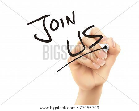 Join Us Words Written By Hand