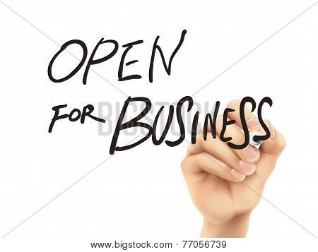 Open For Business Words Written By Hand