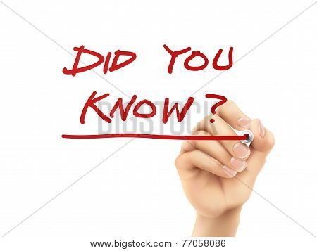 Did You Know Words Written By Hand