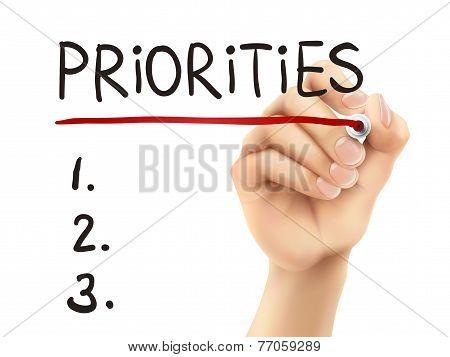 Priorities Word Written By Hand
