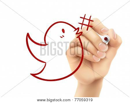 Bird With Hashtag Symbol Drawn By Hand