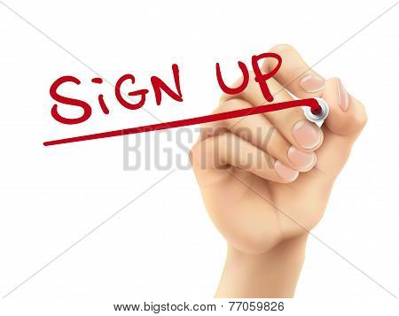 Sign Up Words Written By Hand