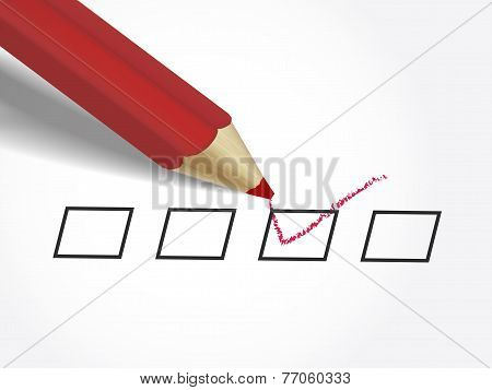 Red Pen Marking On The Check Box