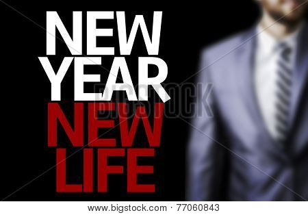 Business man with the text Great Ideas New Year New Life in a concept image