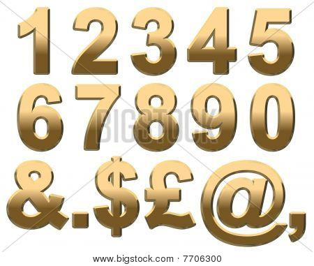 Gold Alphabet Numbers On White
