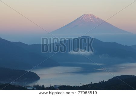 Mountain Fuji and Lake ashi in sunset time