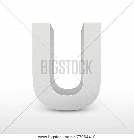 White Letter U Isolated On White