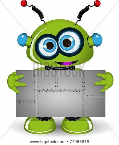 Green Robot With A Metal Background